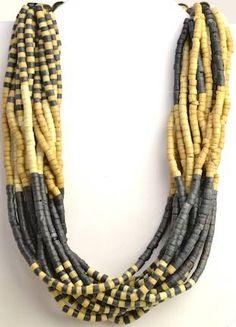 Blue / Beige Tribal Multi Strand Beaded Necklace