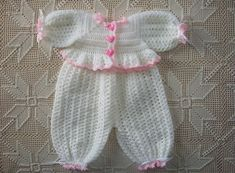 White with Pink Trim Crochet Infant Bubble by LoopyLittleOldLady, $36.00