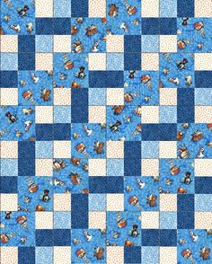 Lil Miss Cutie Dogs Blue Pre-Cut Quilt Blocks Kit from Quilt Kit Shop