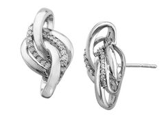 A polished setting and sparkling diamonds create a perfectly elegant statement. These earrings crafted in sterling silver feature an intricate knot adorned with scintillating diamonds totaling 1/6 ct. Pieces measure 3/4 by 3/8 inches.