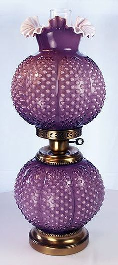 Fenton Art Glass Lamps: Gone with the Wind Violet Overlay Melon Hobnail Lamp. (Oh WOW - this lamp design is beautiful. Fenton Lamps, Fenton Glassware, Vintage Glassware, Antique Oil Lamps, Vintage Lamps, Vintage Lighting, Lampe Decoration, Victorian Lamps, Kerosene Lamp