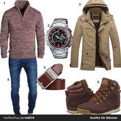 Cooles Outfit für Männer mit rotem Solid Pullover, Casio Edifice, Jack & Jones Chino und roten Boots von The North Face. Jetzt ansehen!