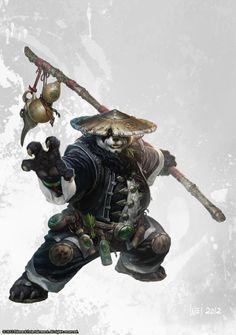 2012 by wei wang, via Behance. I understand the WoW: Mists of Pandaria expansion concept started out as an in-joke as Blizzard before becoming a challenge to see if they could execute it. This guy is by far the most interesting character I've seen from the franchise.
