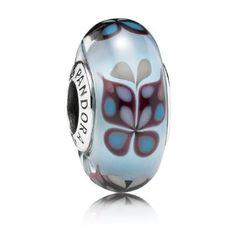 Pandora Silver Blue Butterfly Murano Glass Charm 791622 80313