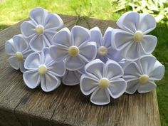 10 white kanzashi flowers with stems for diy by sweetlyboutique