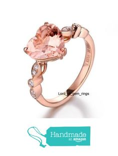 Heart Morganite Engagement Ring Pave Diamond Wedding 14K Rose Gold 8mm Art Deco from the Lord of Gem Rings https://www.amazon.com/dp/B01GZ5QMQE/ref=hnd_sw_r_pi_dp_lruGxbT92W96P #handmadeatamazon