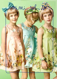 Pink, blue and green..ribbons, butterflies and flowers. I can't choose! Do you?  #MiMiSol #Imeldebronzieri #fashion #childrenswear #elegance #colours #spring #SS14