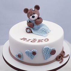 Krstinová pre Riška torta, Autorka: Miriam17, Tortyodmamy.sk Christening Cake Boy, Baby Cakes, Cakes For Boys, Birthday Cake, Food, Baby Shower, Conch Fritters, Babyshower, Birthday Cakes