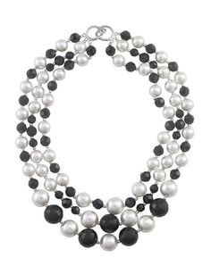 3 Strand Black and White Pearl and Crystal Necklace - Dog House Pearls