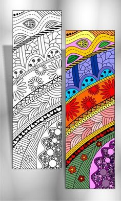 Baby Names Discover 8 Abstract Design Coloring Bookmarks (plus 2 colored items) 4 Coloring Bookmarks with Abstract designs plus 2 colored items Creative Bookmarks, Diy Bookmarks, Mandala Art Lesson, Mandala Artwork, Doodle Art Drawing, Zentangle Drawings, Doodle Patterns, Zentangle Patterns, Bookmark Craft