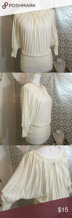 BEBE Ivory butterfly top Lightly used 18 inches in length fabric is 55% cotton 45% rayon bebe Sweaters