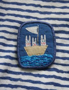 """Brooch """"Three yachtsman"""", hand embroidery jewelry by makiko on Etsy, $22.00 #Etsy #maritime #summer jewelry"""