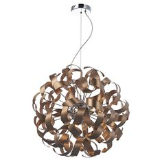 Dar RAW1364 Rawley 9 Light Satin Copper Ceiling Pendant from Lights 4 Living