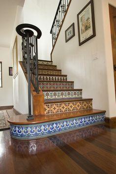 Moorish tile design, stair riser tiles,