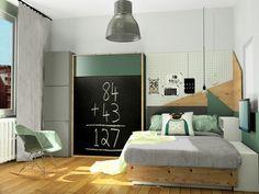 Chambre garçon, lit et placard Ikea,lit escamotable, image virtuelle 3d