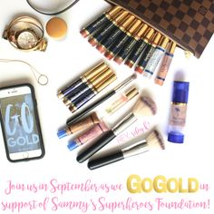 GO GOLD for Childhood Cancer Awareness, September!  ShadowSense, Eye Shadow, Pearlizer, Bronzer, Collagen Night Pak, Toasted Rose and Bronze BlushSense, Blush, SeneGence Parfum, Morphe Brushes, Makeup Brush