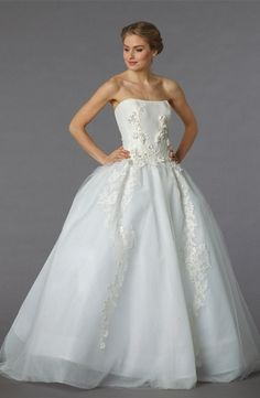 Strapless Princess/Ball Gown Wedding Dress with Natural Waist in Tulle. Bridal Gown Style Number:32849499