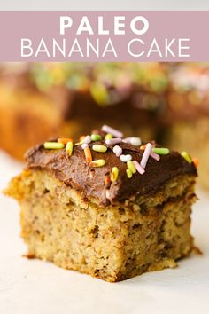 This Paleo Banana Cake is basically just a fancy paleo banana bread topped with some creamy dairy-free chocolate frosting and sprinkles. This healthy cake is easy to make and perfect for any kind of celebration. Paleo Sweets, Paleo Dessert, Dessert Recipes, Picnic Recipes, Recipes Dinner, Paleo Baking, Baking Recipes, Paleo Recipes, Baking Desserts