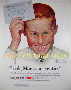 Red Head Boy Crest Toothpaste Norman Rockwell .. Vintage Advertising via Etsy