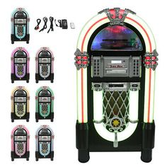 Jukebox Vinyl Record Player & Sound System CD FM Radio Bluetooth MP3 100-240V   eBay Vinyl Record Player, Radio Cd Player, Vinyl Records, Phonograph, Compact Disc, Pinball, Jukebox, Turntable, Arcade