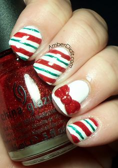 Candy Cane Nails w/ Acrylic Bow Accent. (the girl who did my nails today did this) @Amber