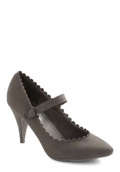 Craft of Charm Heel in Stone - Grey, Solid, Scallops, Mary Jane, Mid-length, Party, Work, Vintage Inspired