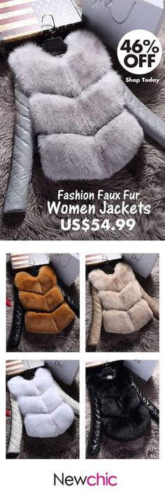 [Newchic Online Shopping] 46%OFF Fashion Faux Fur Women Jackets