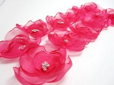 Hot Pink Fabric Flowers
