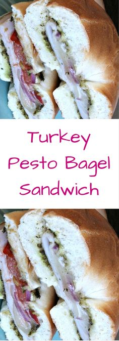This turkey pesto mini bagel recipe is a delicious sandwich for lunch or a picnic.  The combination of the pesto sauce, fresh tomatoes, thinly sliced onions, cheese, makes this a simple yet flavorful sandwich.