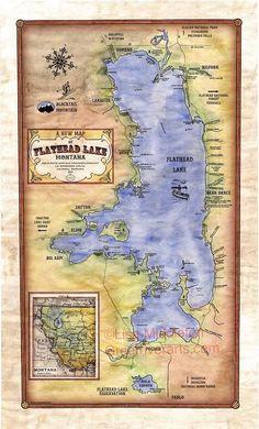 Great River Arts - Hand painted historical maps by Lisa Middleton Map Vintage, Vintage World Maps, James Kerr, Flathead Lake Montana, Glaciers Melting, Lake Monsters, Water Flood, Historical Maps, Map Art