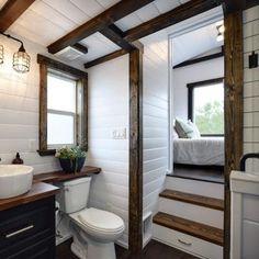 Mint Tiny House Company recently completed a new model that shares its name with the large Canada Goose bird. This is fitting because the home is huge and certainly up there with the biggest tiny… House Bathroom, House Design, House Interior, Tiny House Interior, Tiny House Interior Design, Tiny House Bathroom, Small Room Design