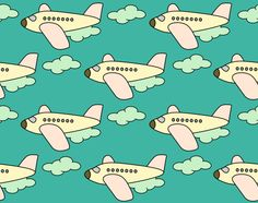 Flugzeug Stoff von fummelhummel auf stoffn.de Himmel Wolken Flieger Jet Urlaub Sommer Reise Flug blau beige rosa weiß türkis petrol Kinder Jungen Mädchen retro