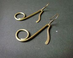 Items similar to Note Earrings, Wire Wrapped Brass on Etsy