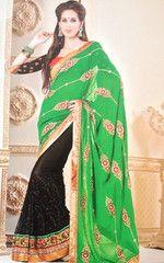 #Green and #black #colour #Georgette material #designer #saree #sari