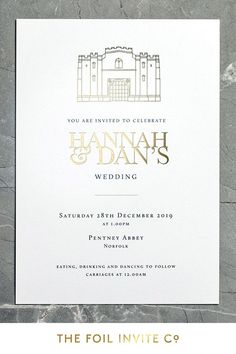 Gold Foil Wedding Invitations - Pentney Abbey | Hannah and Dan's wedding at Pentney Abbey in Norfolk boasts a magical wedding setting. We loved creating this modern venue illustration for their invitations. If you're planning a wedding in a spectacular place, celebrate your wedding venue by featuring it on your wedding stationery in sparkling gold foil. #WeddingDay #WeddingIdeas #WeddingInvitations Luxury Wedding Invitations, Wedding Invitation Design, Wedding Stationery, Magical Wedding, Our Wedding, Wedding Venues, You Are Invited, Norfolk, Gold Foil
