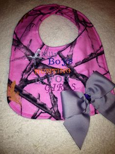 Pink Camo Embroidered bib on Etsy, $10.00