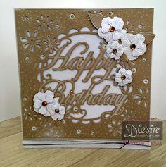 Mel Jess 8x8 Create-a-card   Birthday Flowers - Kraft Card - Centura Pearl A3 Hint of Silver - Spectrum Noir: EB3 - Cord - Collall Tacky Glue, Collall 3D Glue Gel, Foam Pads - #crafterscompanion