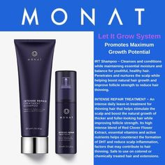 Intense hair challenges need intense treatment... ✨The Let It Grow System✨ IRT Shampoo and Spray are a dynamite hair regrowth duo with AH-MAZING Results! Contact me today to learn more about MONAT! http://michellekstephens.mymonat.com/
