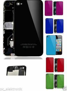 "iPHONE 4S Akkudeckel/ Backcover,""Glas Schwarz""mit Chromering & Blitzdiffusor"