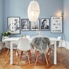 Scandinavian design in the dining room - 50 inspiring ideas .- Scandinavian design in the dining room white furniture set and light blue walls Interior Inspiration, Room Inspiration, Interior Ideas, Inspiration Design, Pastel Interior, Furniture Inspiration, White Furniture Sets, Cheap Furniture, Outdoor Furniture