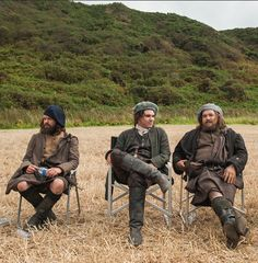 "Season 1, Episode 14, ""The Search."" Take a load off, highlanders. Searching for Jamie Fraser is hard work. #Outlander #BehindTheScenes 