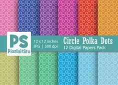 Circle Polka Dots Digital Paper. Wedding Card Templates