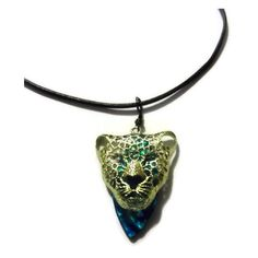Gold Jaguar Pendant with Leather Chord Necklace Blue Eyes Lovely... ($25) ❤ liked on Polyvore featuring jewelry, pendants, boho chic jewelry, boho jewelry, bohemian jewelry, pendant jewelry and gold pendant jewelry