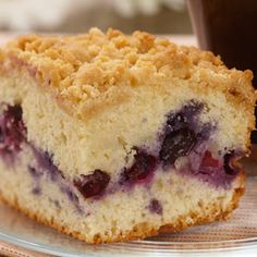 Blueberry Coffee Cake. This is seriously my new favorite coffee cake! It is so much lighter than other coffee cakes and the topping is delicious. I can't wait to try this recipe with apples, strawberries and so many other fruits.