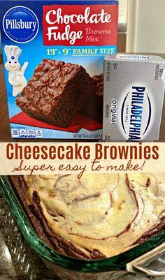Easy Cheesecake Brownies (AKA, Marble Cream Cheese Brownies) - Sweet Little Bluebird Dessert Simple, Bon Dessert, Eat Dessert First, Dessert Bars, Cream Cheese Brownies, Cheesecake Brownies, Fudgy Brownies, Brownie Cake, Fruit Cheesecake