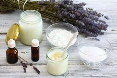 Antibacterial and natural homemade deodorant is made from coconut oil sodium bicarbonate starch and essential oil
