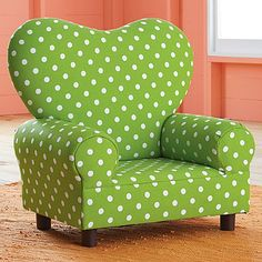 I know this is a kids' chair, but I love it. It's a bright, cheerful green and it's polka dotted! It's a happy chair! Dots Fashion, Funky Furniture, Take A Seat, Cool Chairs, Shades Of Green, My Favorite Color, Green Colors, Armchair, Upholstery