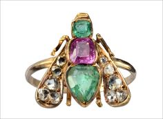 1870s Victorian Emerald, Ruby, and Diamond Fly Ring (in the online shop)