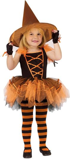 Ballerina Witch Orange Toddler Costume in Kids Witch Costumes: Cute orange and black Halloween witch costume for toddlers. Girls witch costume includes ballerina dance-style witch outfit with puff sleeves, full skirt, mitts and witch hat. Hallowen Ideas, Halloween Party Themes, Halloween Costumes For Girls, Disney Costumes, Halloween Dress, Cute Halloween, Cool Costumes, Costume Ideas, Costumes Kids