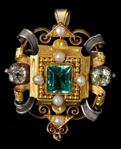 Fine mid-Victorian emerald, diamond and pearl pendant / brooch, the central step cut emerald estimated to weigh approximately 2.8 carats, wi...